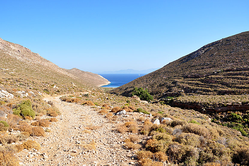 The path to Skafi beach on Tilos island